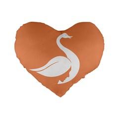 Swan Girl Face Hair Face Orange White Standard 16  Premium Heart Shape Cushions