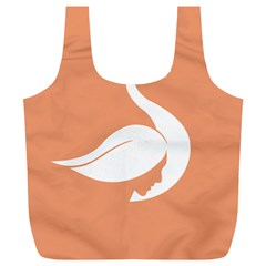 Swan Girl Face Hair Face Orange White Full Print Recycle Bags (L)