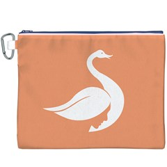 Swan Girl Face Hair Face Orange White Canvas Cosmetic Bag (XXXL)
