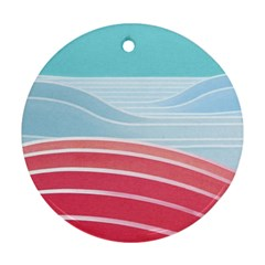 Wave Waves Blue Red Ornament (Round)