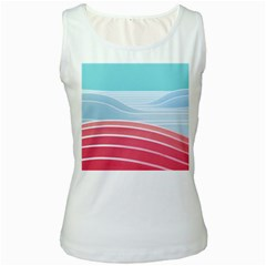 Wave Waves Blue Red Women s White Tank Top