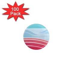 Wave Waves Blue Red 1  Mini Magnets (100 Pack)