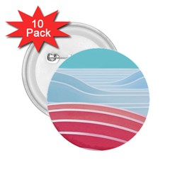 Wave Waves Blue Red 2.25  Buttons (10 pack)