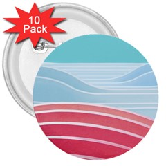 Wave Waves Blue Red 3  Buttons (10 pack)