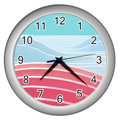 Wave Waves Blue Red Wall Clocks (silver)