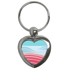 Wave Waves Blue Red Key Chains (Heart)