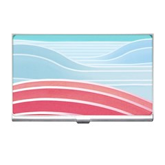 Wave Waves Blue Red Business Card Holders