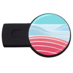 Wave Waves Blue Red Usb Flash Drive Round (2 Gb)