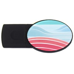 Wave Waves Blue Red USB Flash Drive Oval (1 GB)