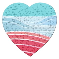 Wave Waves Blue Red Jigsaw Puzzle (Heart)