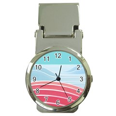 Wave Waves Blue Red Money Clip Watches