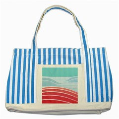 Wave Waves Blue Red Striped Blue Tote Bag
