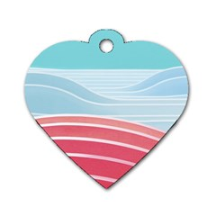 Wave Waves Blue Red Dog Tag Heart (One Side)