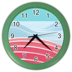 Wave Waves Blue Red Color Wall Clocks