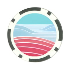 Wave Waves Blue Red Poker Chip Card Guard