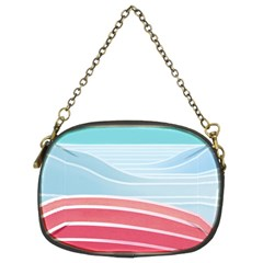 Wave Waves Blue Red Chain Purses (Two Sides)