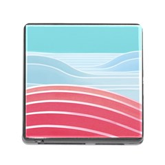Wave Waves Blue Red Memory Card Reader (Square)