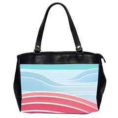 Wave Waves Blue Red Office Handbags (2 Sides)