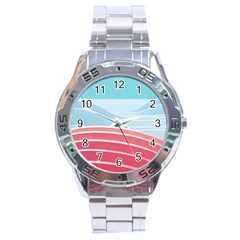 Wave Waves Blue Red Stainless Steel Analogue Watch