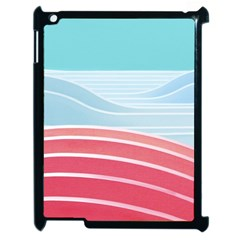 Wave Waves Blue Red Apple Ipad 2 Case (black)