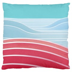 Wave Waves Blue Red Large Cushion Case (One Side)