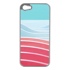 Wave Waves Blue Red Apple iPhone 5 Case (Silver)