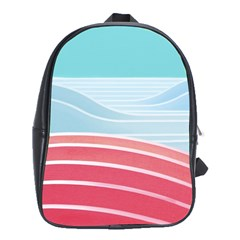 Wave Waves Blue Red School Bags (XL)