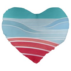 Wave Waves Blue Red Large 19  Premium Heart Shape Cushions