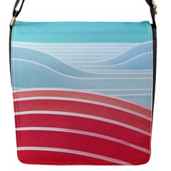 Wave Waves Blue Red Flap Messenger Bag (S)