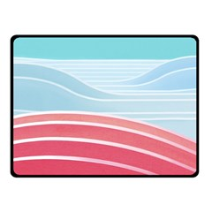 Wave Waves Blue Red Double Sided Fleece Blanket (Small)