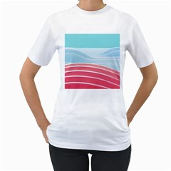 Wave Waves Blue Red Women s T-Shirt (White)