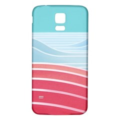 Wave Waves Blue Red Samsung Galaxy S5 Back Case (White)