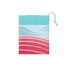 Wave Waves Blue Red Drawstring Pouches (Small)