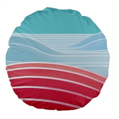 Wave Waves Blue Red Large 18  Premium Flano Round Cushions
