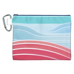 Wave Waves Blue Red Canvas Cosmetic Bag (XXL)