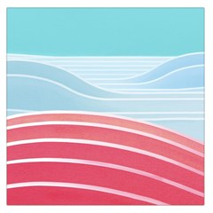 Wave Waves Blue Red Large Satin Scarf (square)