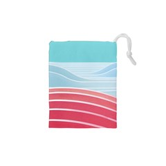 Wave Waves Blue Red Drawstring Pouches (XS)