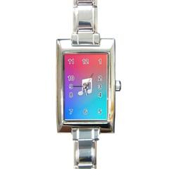 Tunes Sign Orange Purple Blue White Music Notes Rectangle Italian Charm Watch