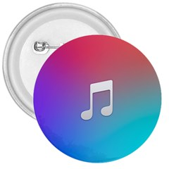 Tunes Sign Orange Purple Blue White Music Notes 3  Buttons
