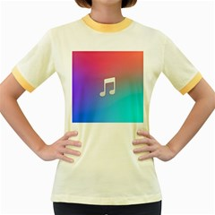 Tunes Sign Orange Purple Blue White Music Notes Women s Fitted Ringer T-Shirts