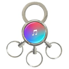 Tunes Sign Orange Purple Blue White Music Notes 3-Ring Key Chains