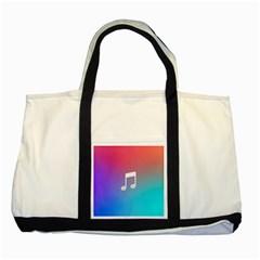 Tunes Sign Orange Purple Blue White Music Notes Two Tone Tote Bag