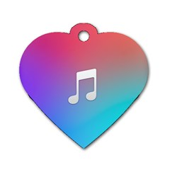 Tunes Sign Orange Purple Blue White Music Notes Dog Tag Heart (One Side)