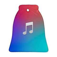 Tunes Sign Orange Purple Blue White Music Notes Bell Ornament (two Sides)