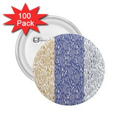 Flower Floral Grey Blue Gold Tulip 2.25  Buttons (100 pack)