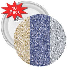 Flower Floral Grey Blue Gold Tulip 3  Buttons (10 pack)