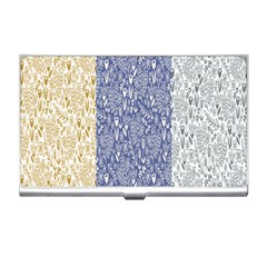 Flower Floral Grey Blue Gold Tulip Business Card Holders