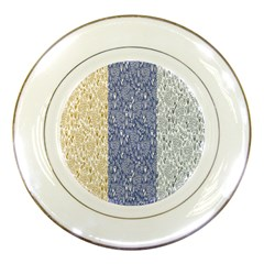 Flower Floral Grey Blue Gold Tulip Porcelain Plates