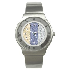 Flower Floral Grey Blue Gold Tulip Stainless Steel Watch