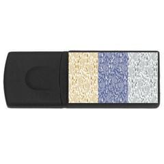 Flower Floral Grey Blue Gold Tulip USB Flash Drive Rectangular (4 GB)